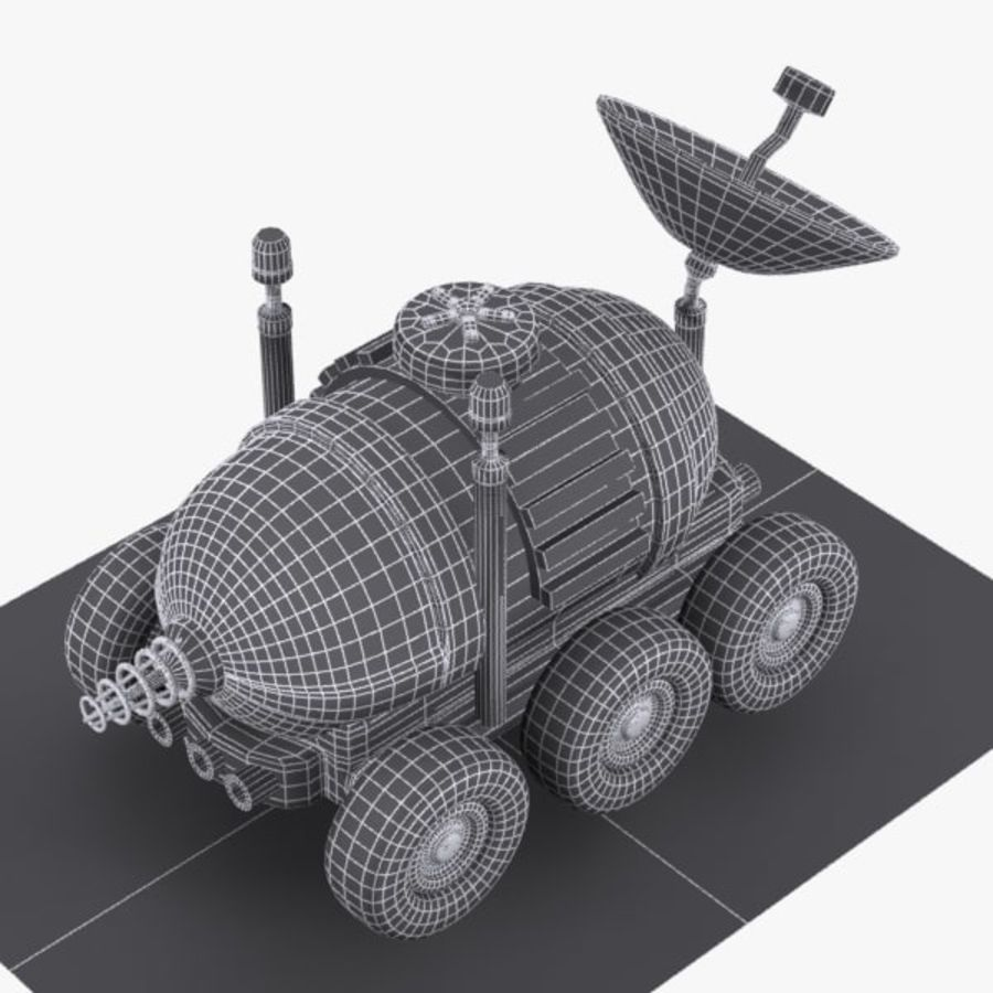 Cartoon Space Car 1 royalty-free 3d model - Preview no. 9