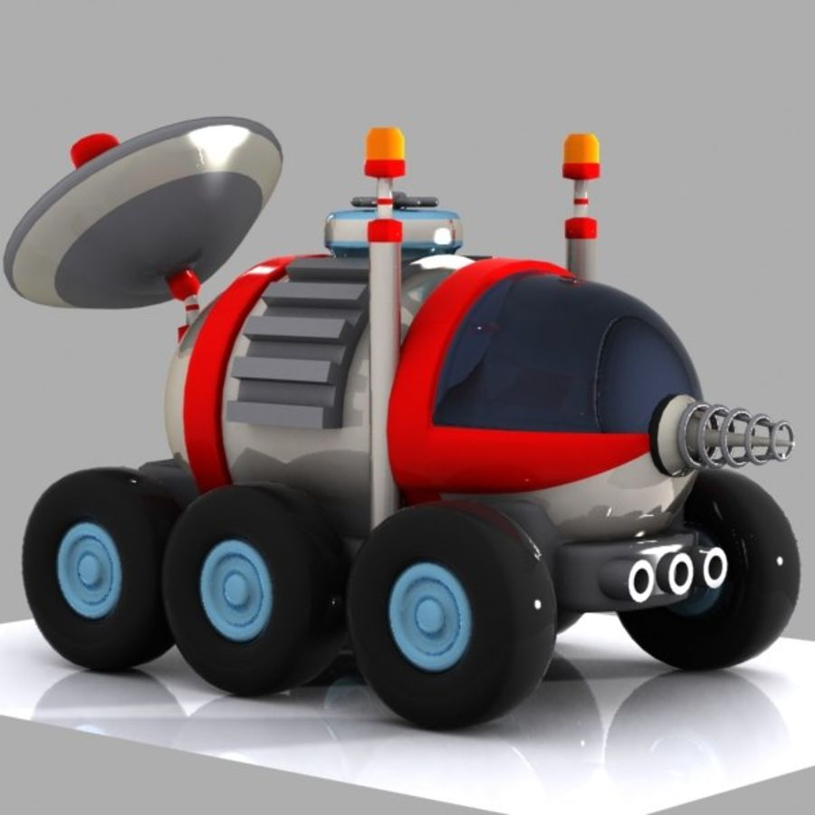 Cartoon Space Car 1 royalty-free 3d model - Preview no. 2