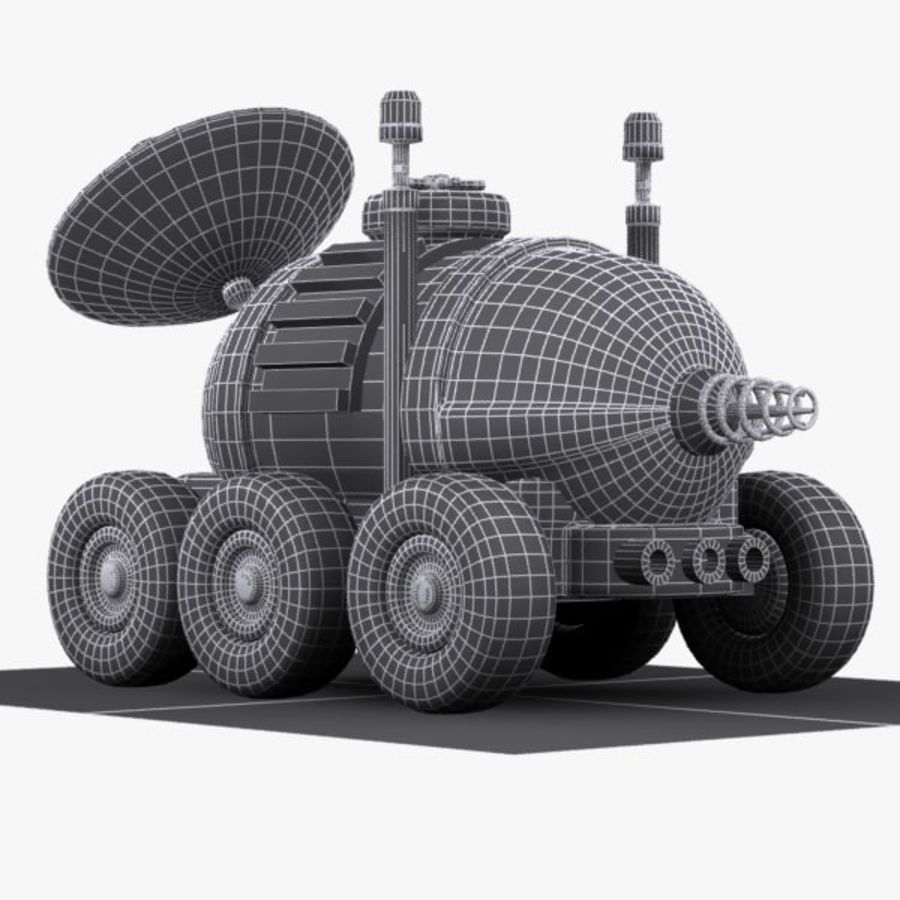 Cartoon Space Car 1 royalty-free 3d model - Preview no. 12