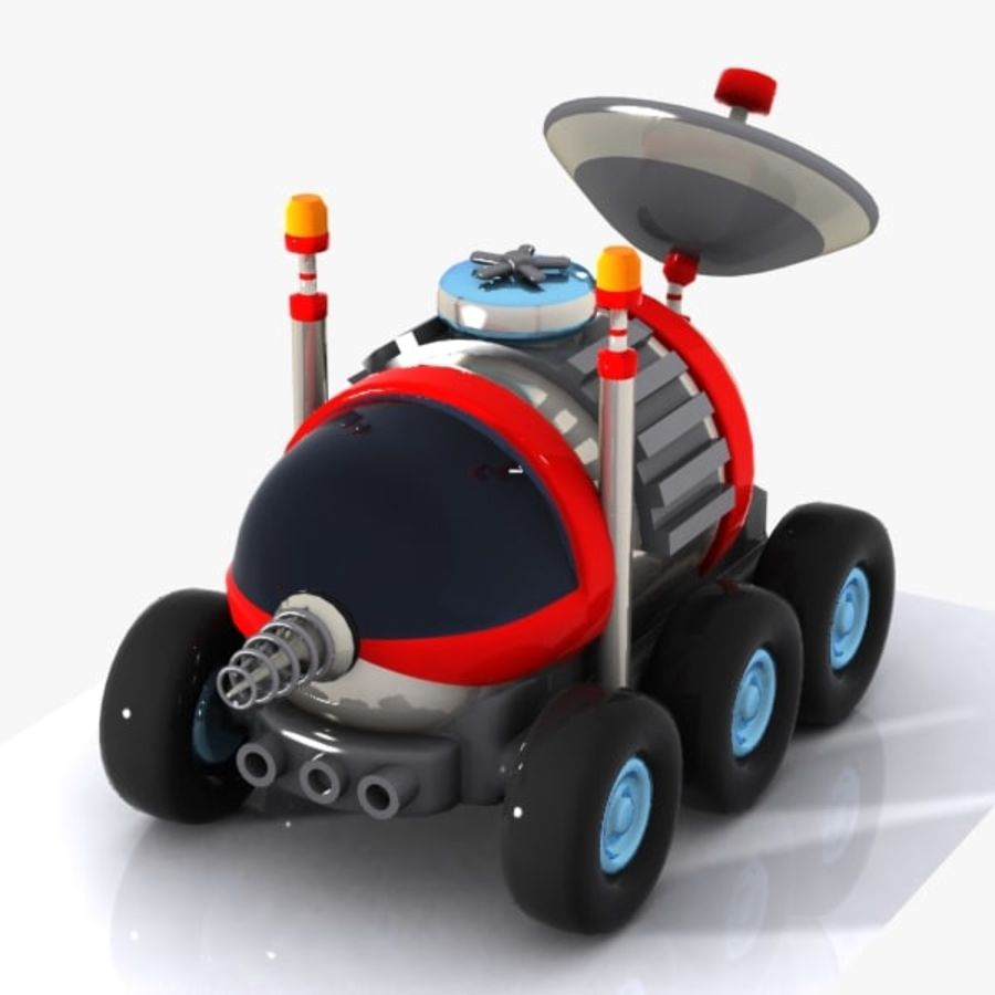 Cartoon Space Car 1 royalty-free 3d model - Preview no. 5