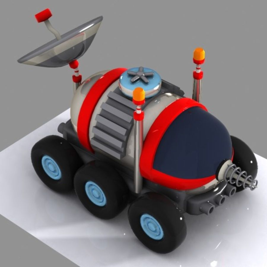 Cartoon Space Car 1 royalty-free 3d model - Preview no. 4
