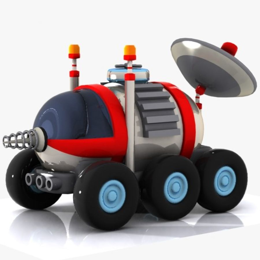 Cartoon Space Car 1 royalty-free 3d model - Preview no. 6