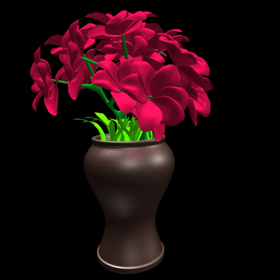 röd blomma royalty-free 3d model - Preview no. 7