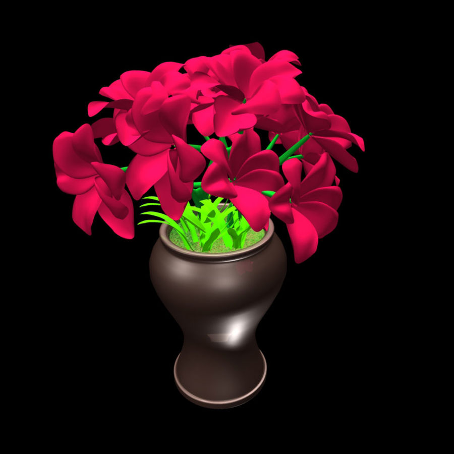 röd blomma royalty-free 3d model - Preview no. 1