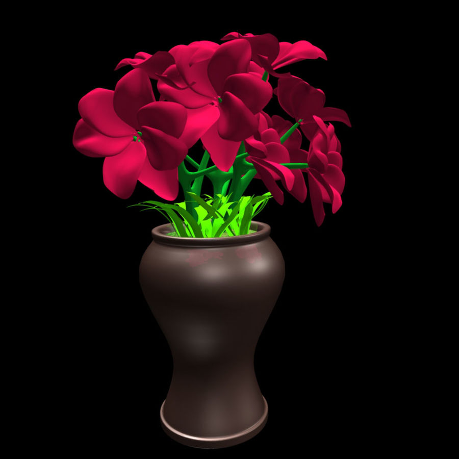 röd blomma royalty-free 3d model - Preview no. 3