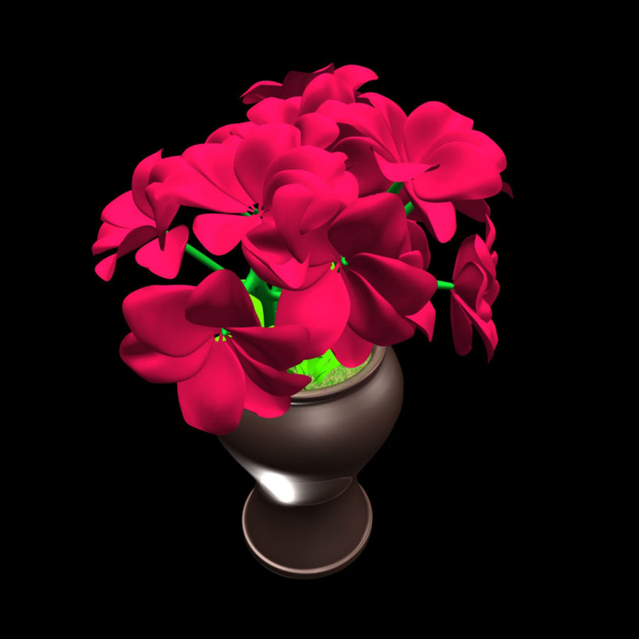 röd blomma royalty-free 3d model - Preview no. 5