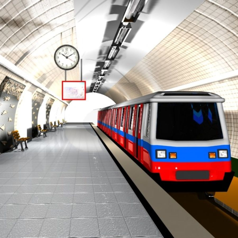Cartoon Subway Station royalty-free 3d model - Preview no. 5