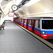 카툰 지하철역 3d model