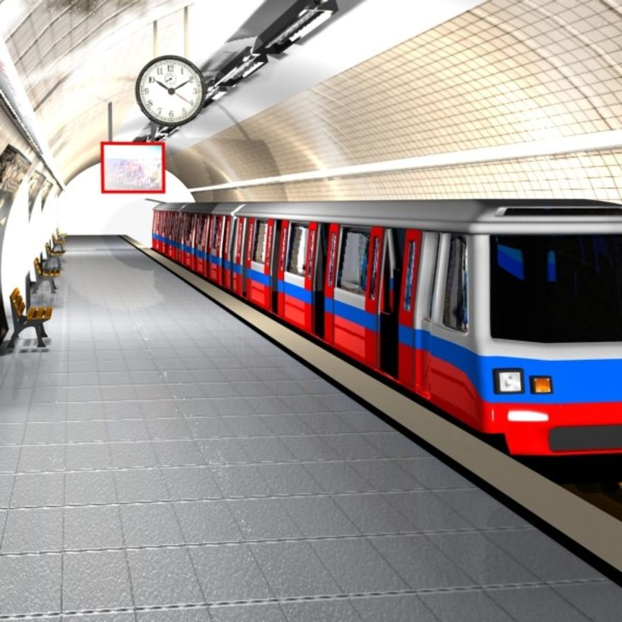 Cartoon Subway Station royalty-free 3d model - Preview no. 1