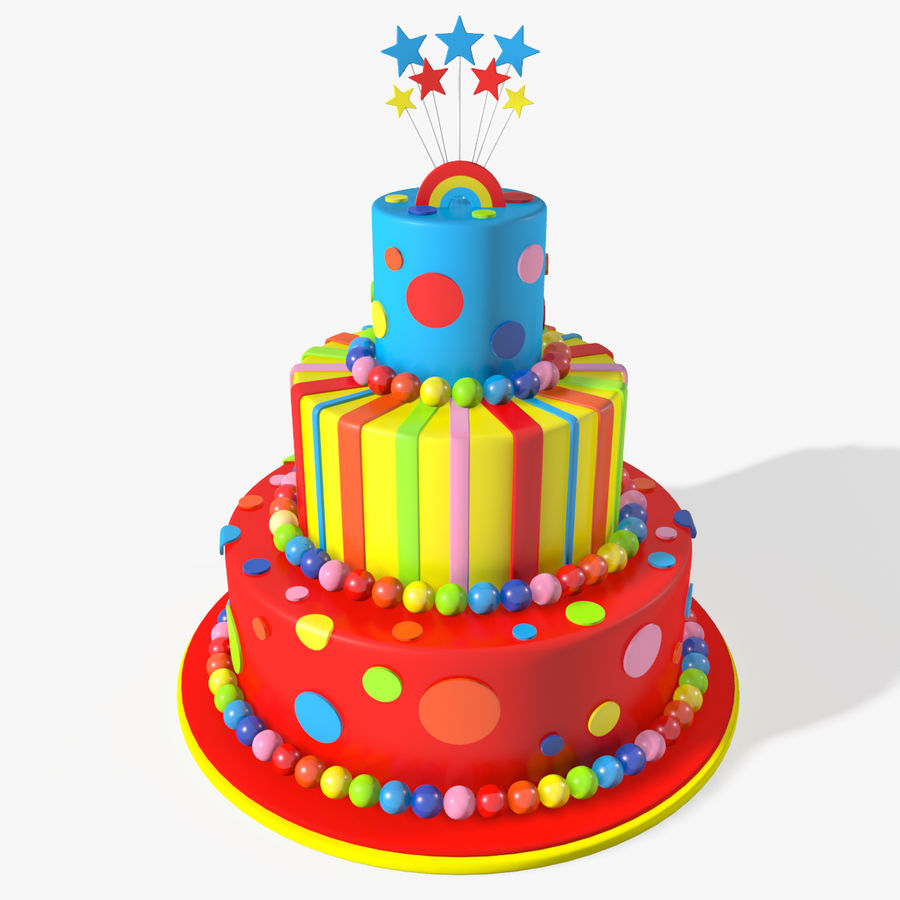 Birthday Cake royalty-free 3d model - Preview no. 1