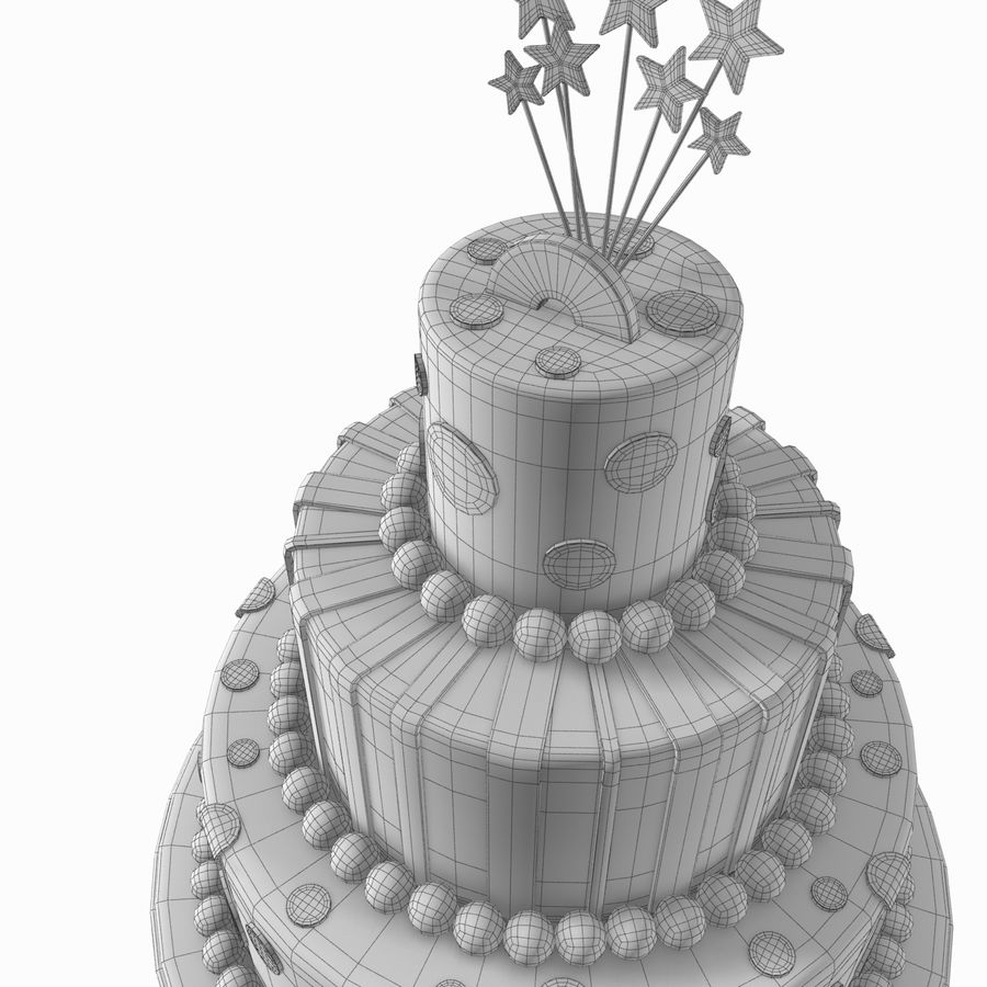 Birthday Cake royalty-free 3d model - Preview no. 10
