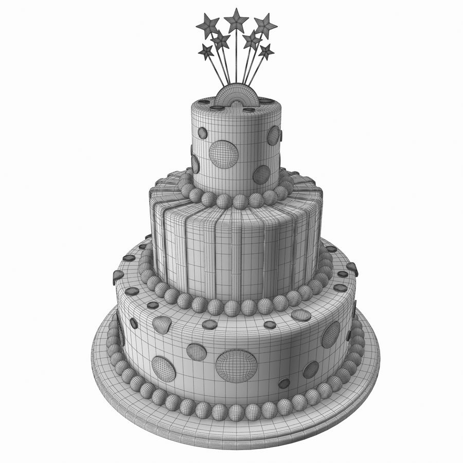 Birthday Cake royalty-free 3d model - Preview no. 9
