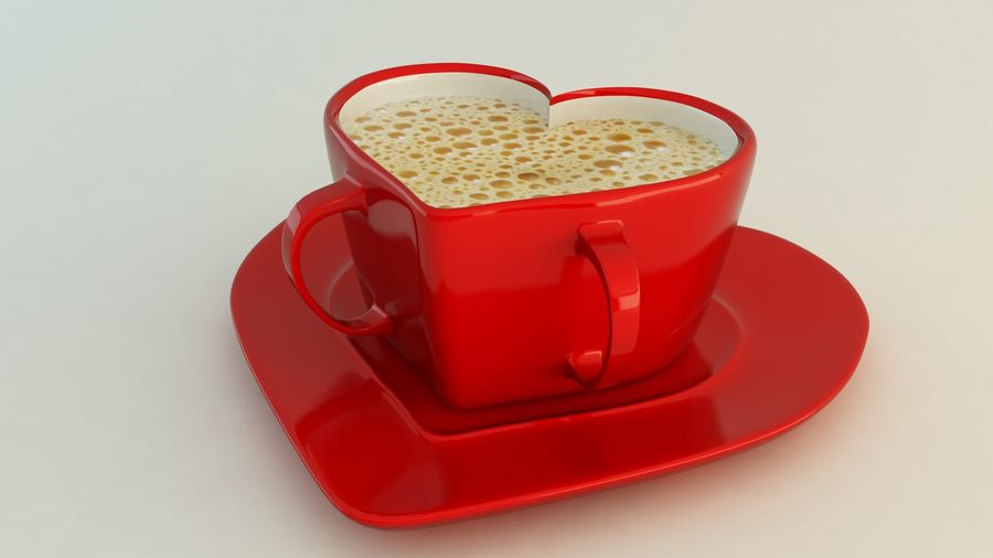 Heart Shaped Coffee Cup royalty-free 3d model - Preview no. 2