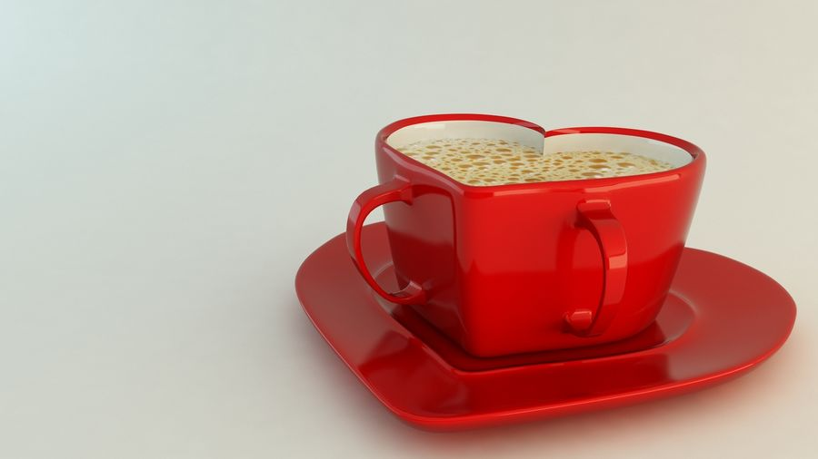 Heart Shaped Coffee Cup royalty-free 3d model - Preview no. 1