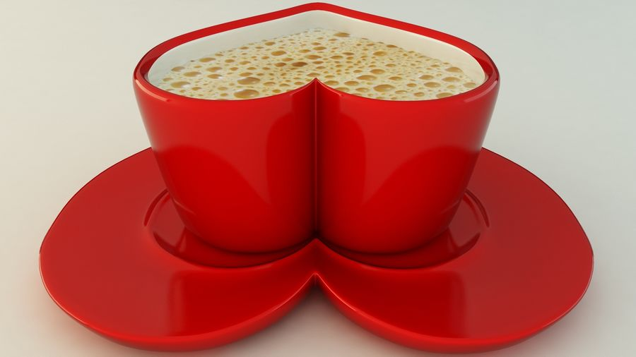 Heart Shaped Coffee Cup royalty-free 3d model - Preview no. 5