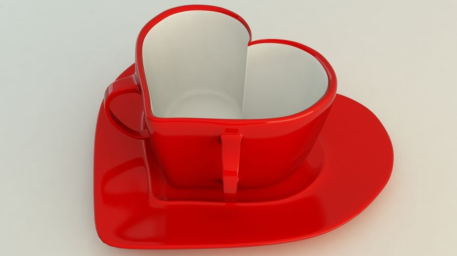 Heart Shaped Coffee Cup royalty-free 3d model - Preview no. 6