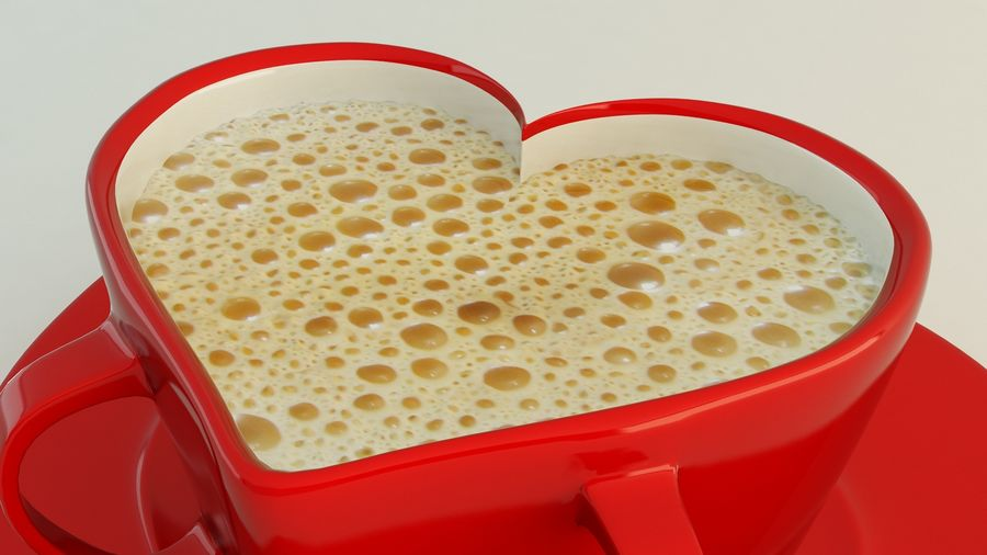 Heart Shaped Coffee Cup royalty-free 3d model - Preview no. 3