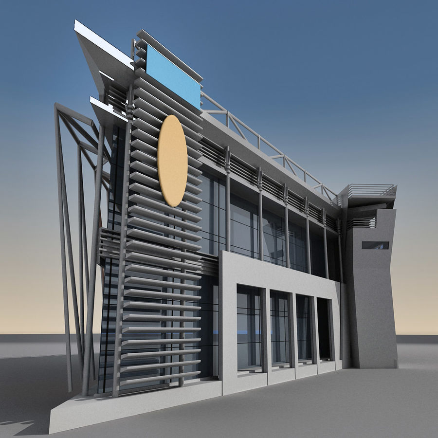 Modern Building 009 royalty-free 3d model - Preview no. 3