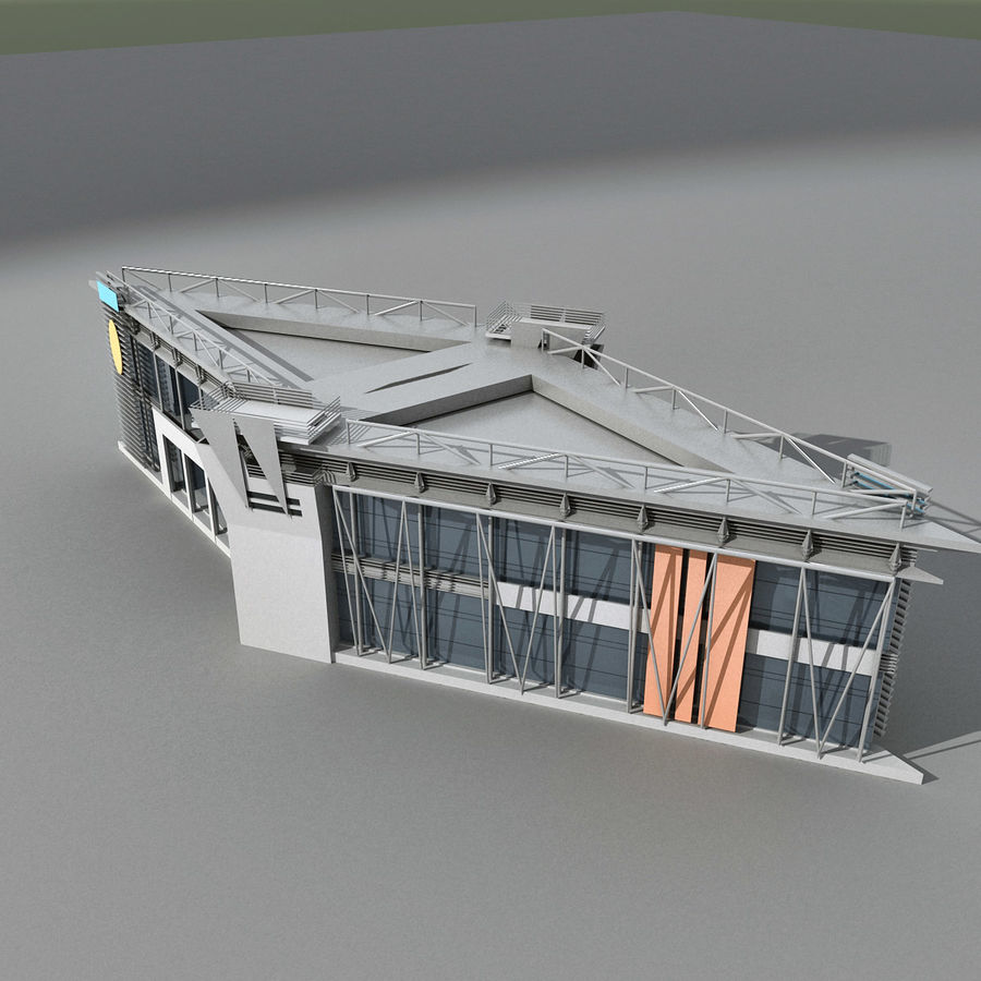 Modern Building 009 royalty-free 3d model - Preview no. 7