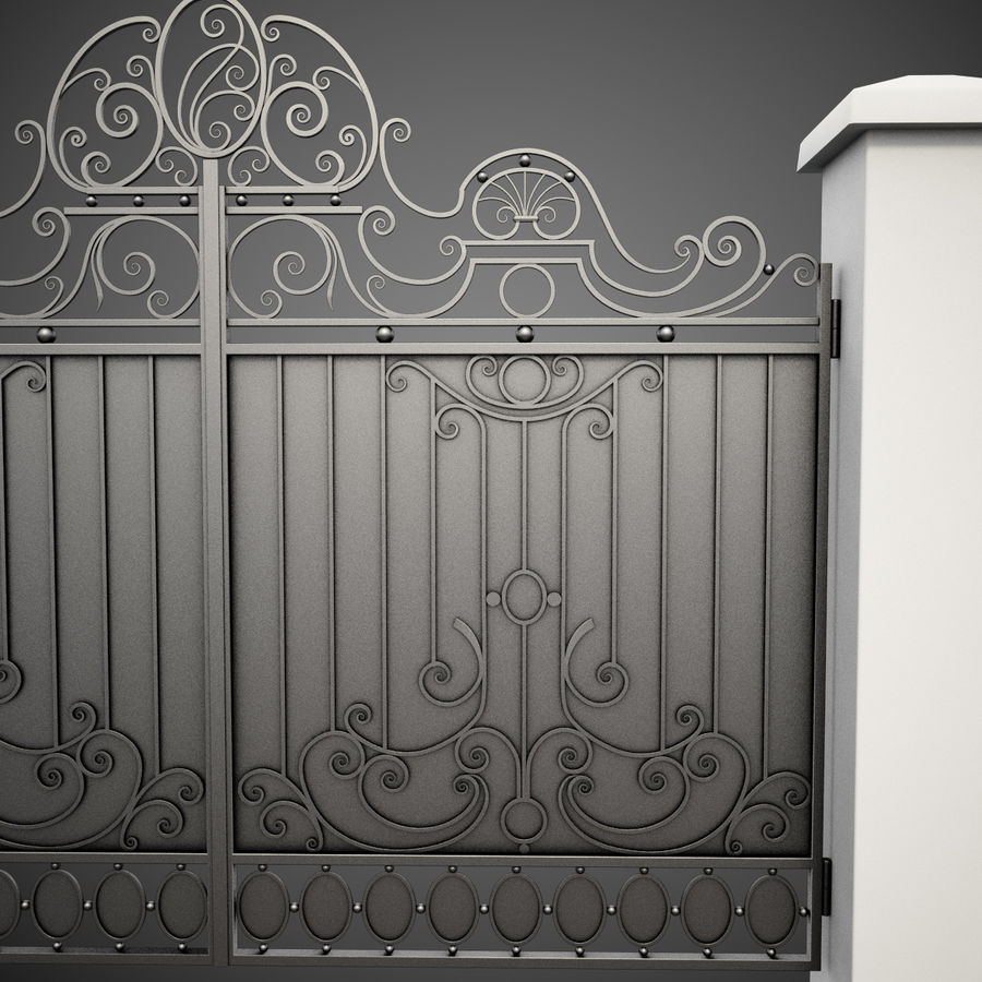 Wrought Iron Gate 26 royalty-free 3d model - Preview no. 7