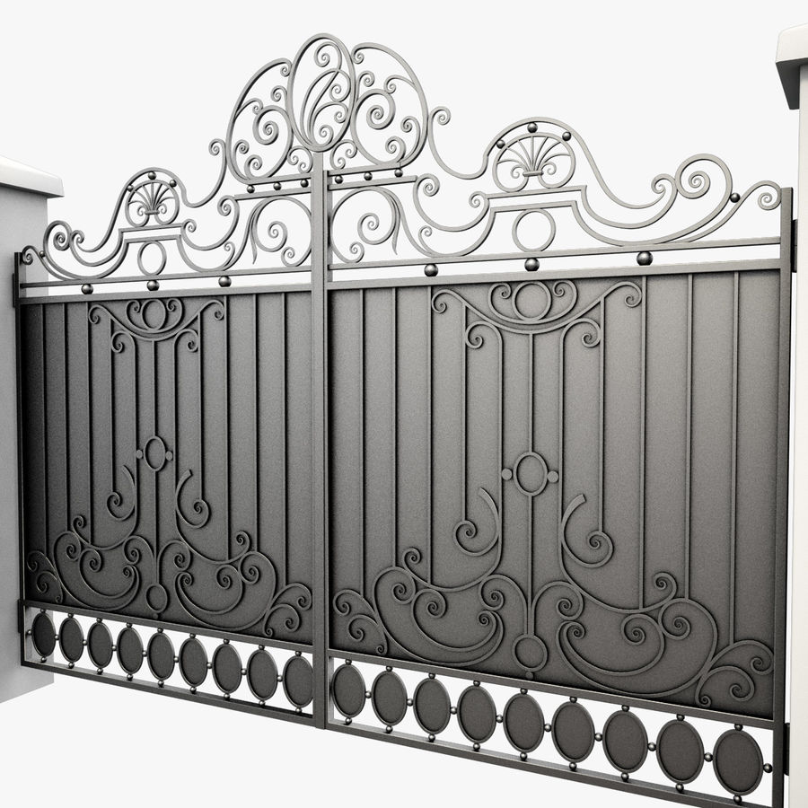 Wrought Iron Gate 26 royalty-free 3d model - Preview no. 8