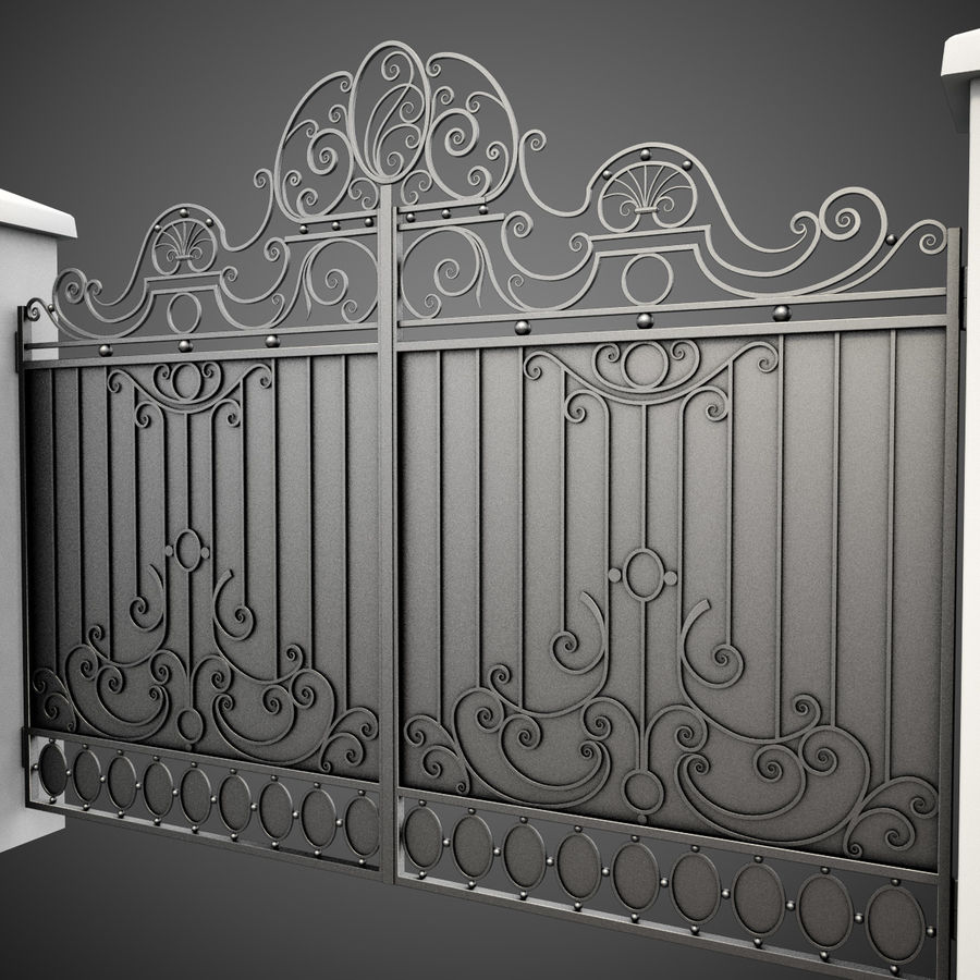 Wrought Iron Gate 26 royalty-free 3d model - Preview no. 5