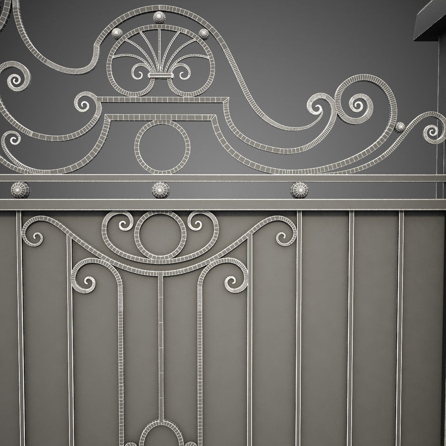 Wrought Iron Gate 26 royalty-free 3d model - Preview no. 13
