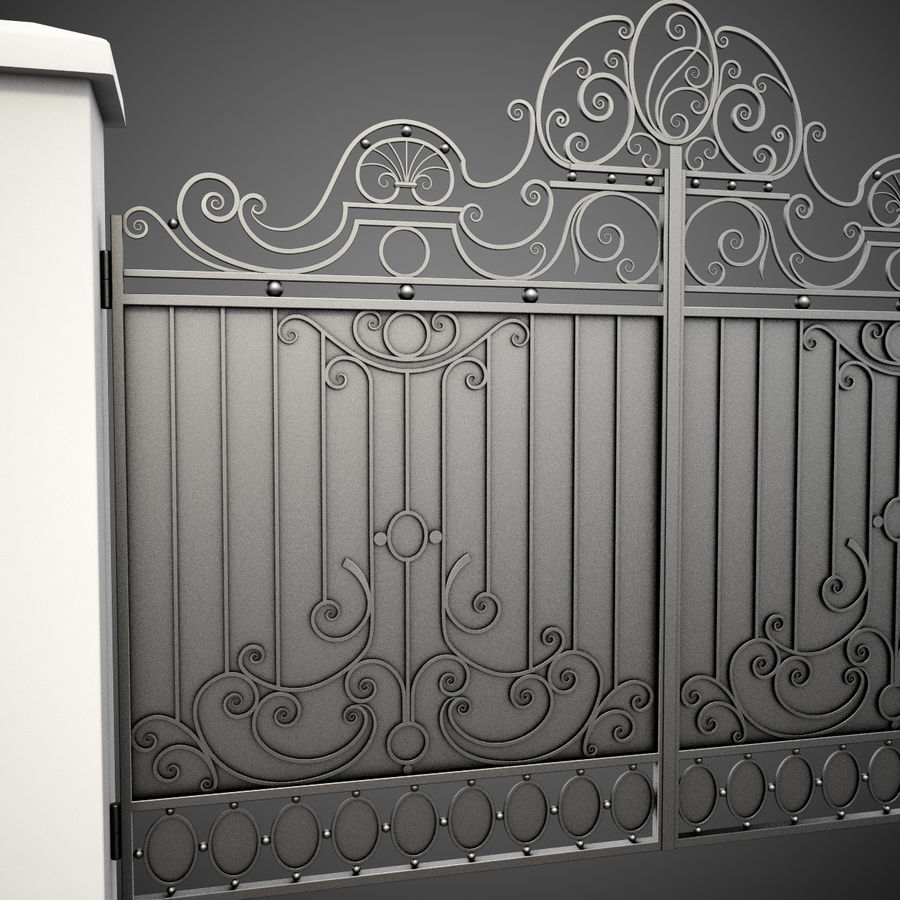 Wrought Iron Gate 26 royalty-free 3d model - Preview no. 11