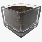 Square Glass Vase With Soil 3d model