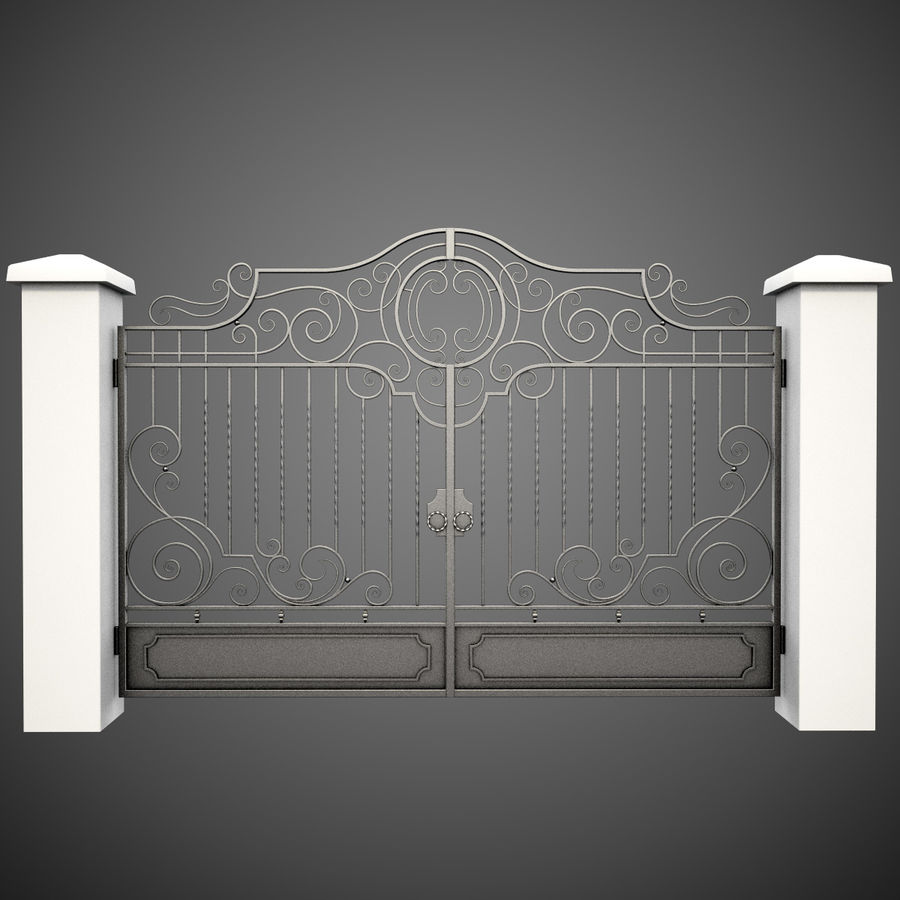 Wrought Iron Gate 22 royalty-free 3d model - Preview no. 3