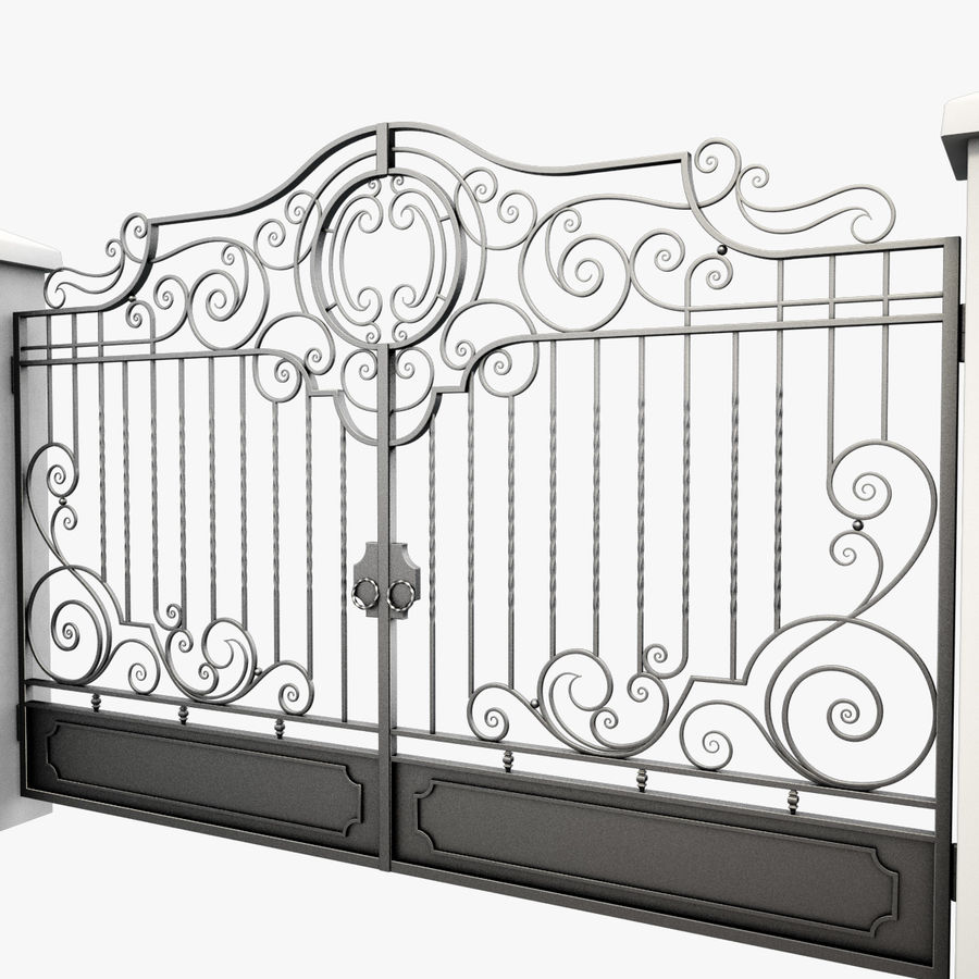 Wrought Iron Gate 22 royalty-free 3d model - Preview no. 10