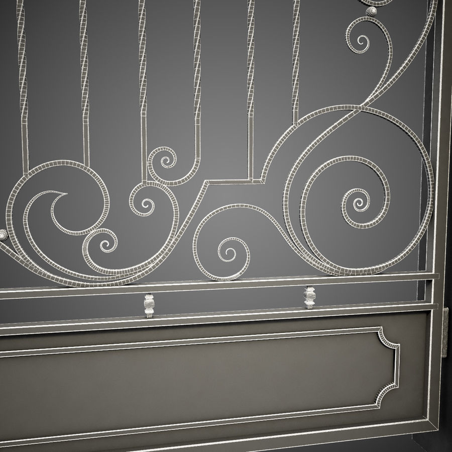 Wrought Iron Gate 22 royalty-free 3d model - Preview no. 16