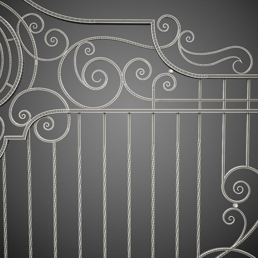 Wrought Iron Gate 22 royalty-free 3d model - Preview no. 15
