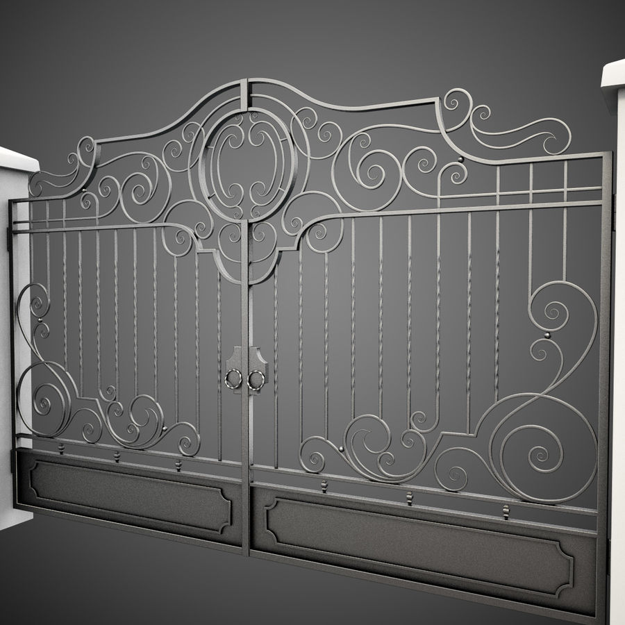 Wrought Iron Gate 22 royalty-free 3d model - Preview no. 7