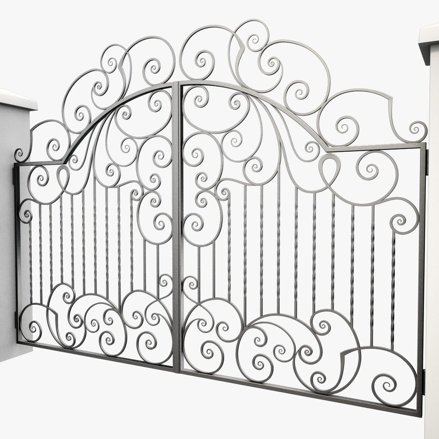 Wrought Iron Gate 30 royalty-free 3d model - Preview no. 3