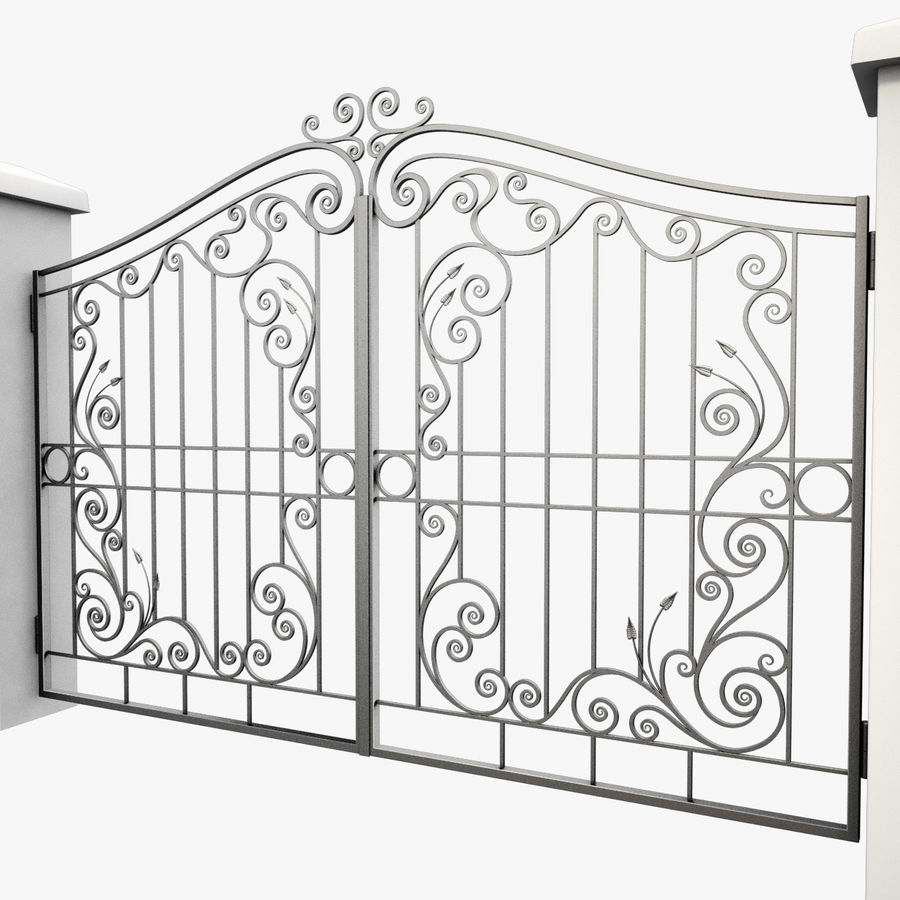 Wrought Iron Gate 31 royalty-free 3d model - Preview no. 5