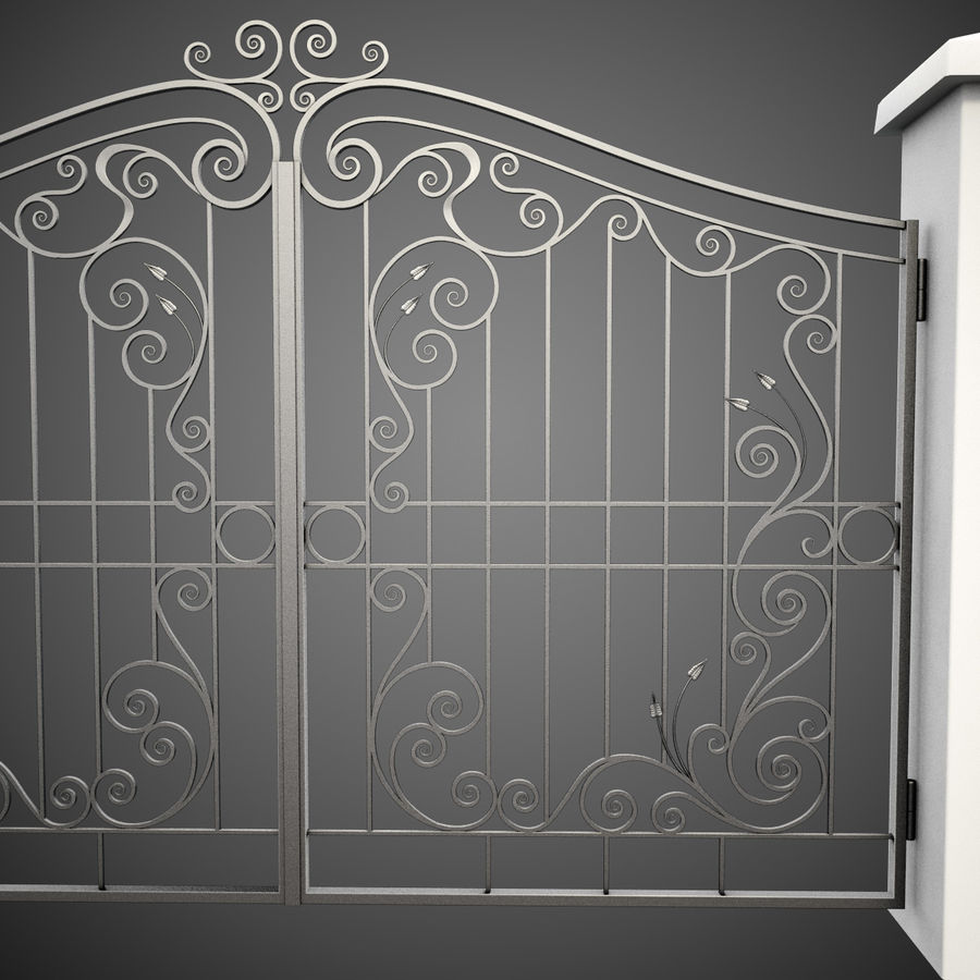 Wrought Iron Gate 31 royalty-free 3d model - Preview no. 7