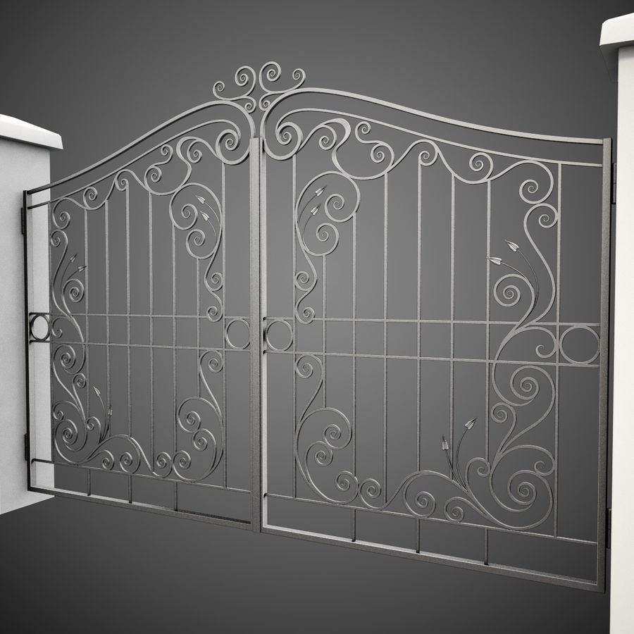 Wrought Iron Gate 31 royalty-free 3d model - Preview no. 3