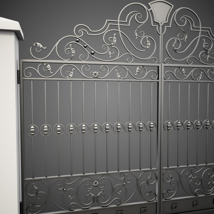 Wrought Iron Gate 24 royalty-free 3d model - Preview no. 11