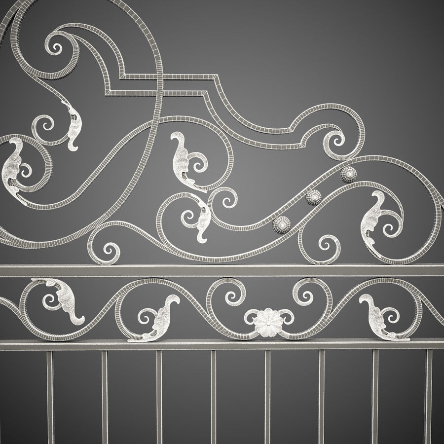 Wrought Iron Gate 24 royalty-free 3d model - Preview no. 16
