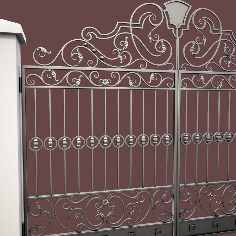 Wrought Iron Gate 24 royalty-free 3d model - Preview no. 15