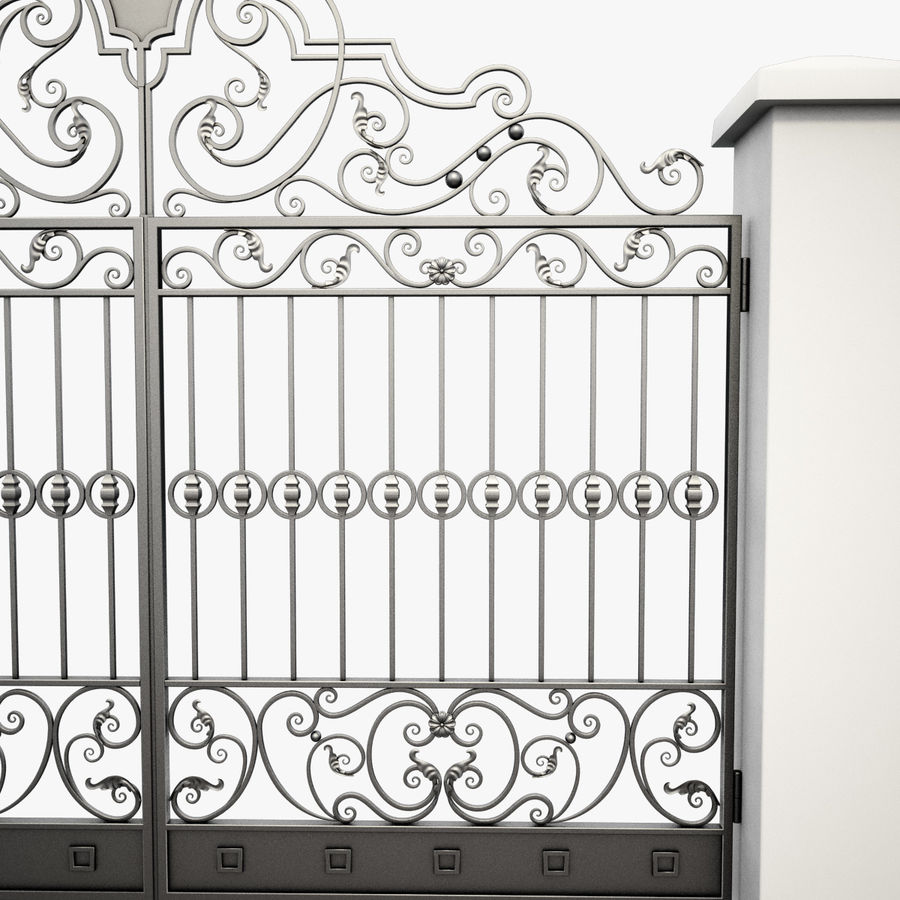 Wrought Iron Gate 24 royalty-free 3d model - Preview no. 12