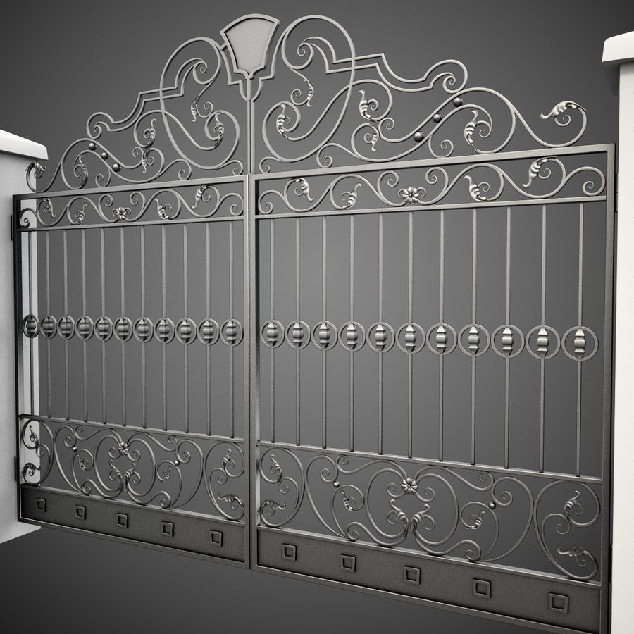 Wrought Iron Gate 24 royalty-free 3d model - Preview no. 5