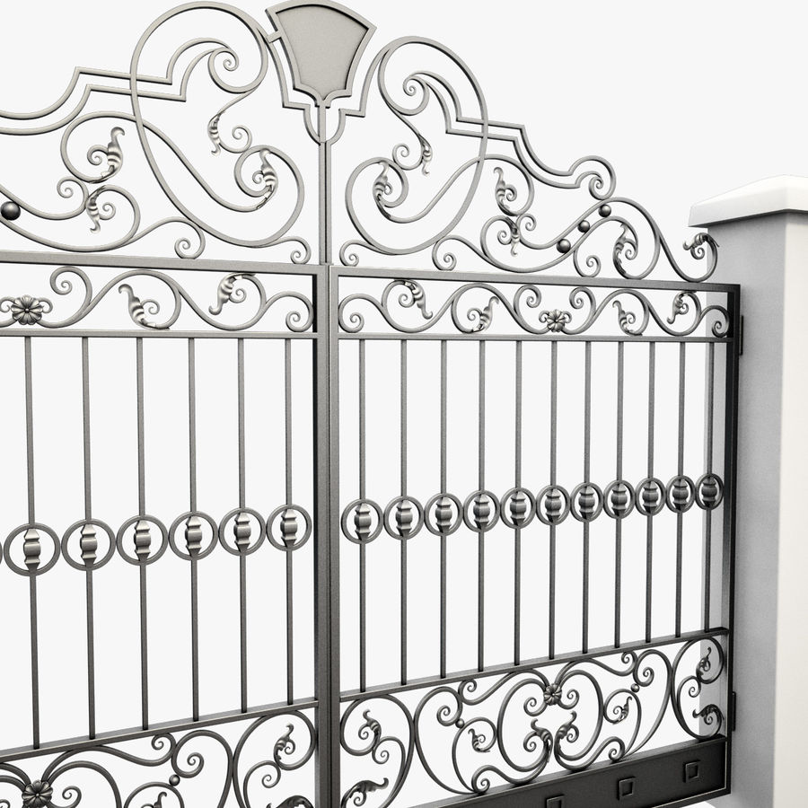 Wrought Iron Gate 24 royalty-free 3d model - Preview no. 9