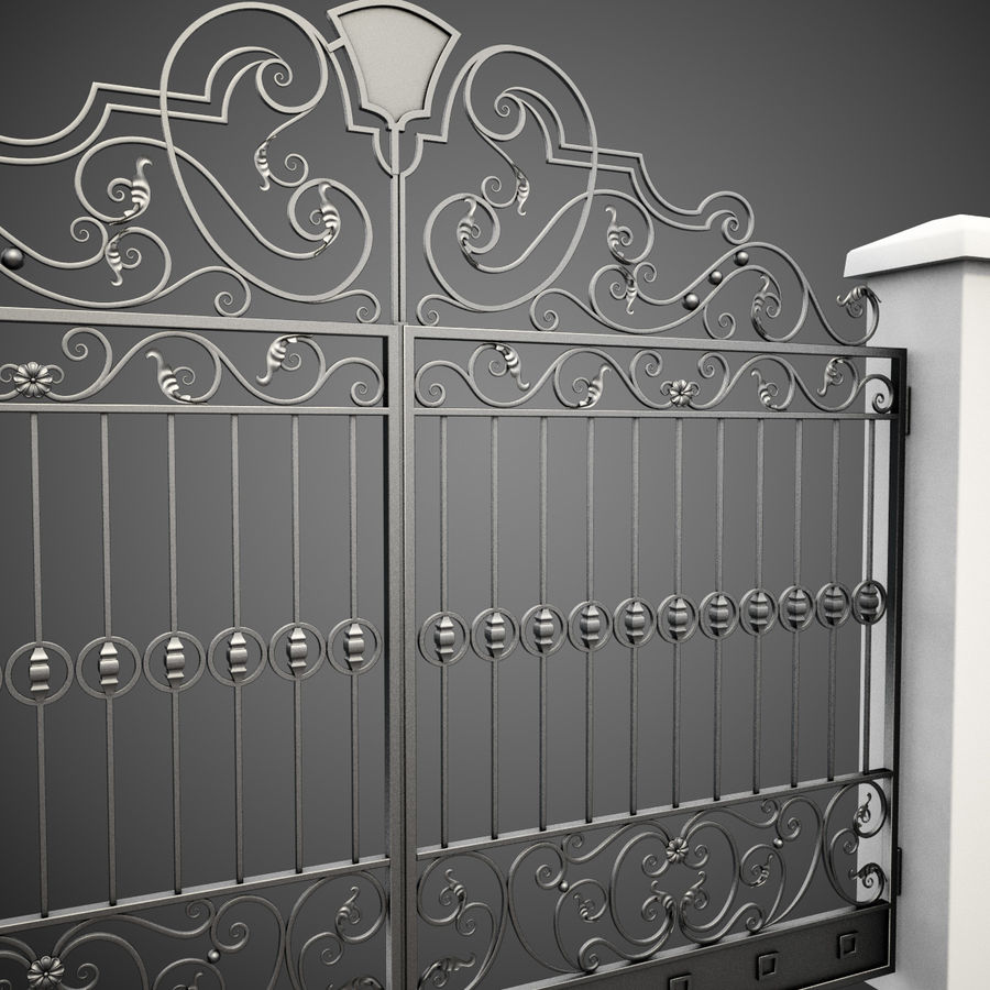 Wrought Iron Gate 24 royalty-free 3d model - Preview no. 7