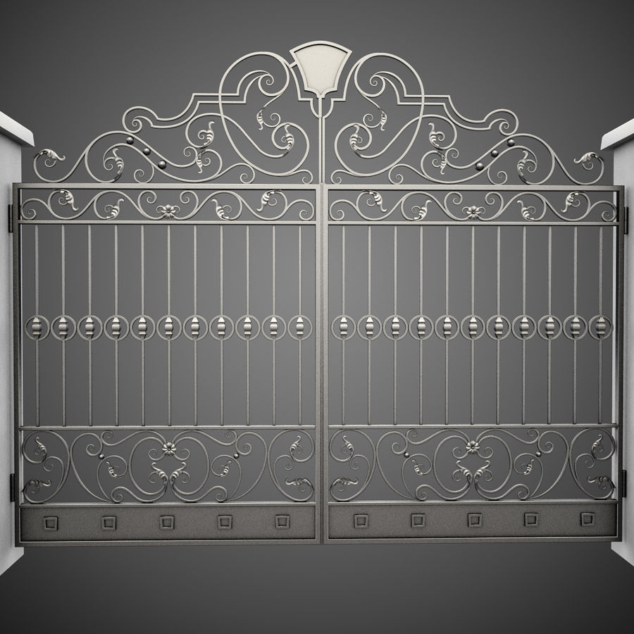 Wrought Iron Gate 24 royalty-free 3d model - Preview no. 2