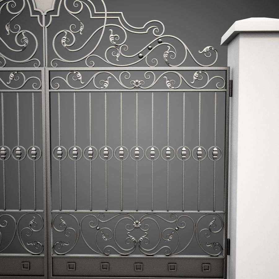 Wrought Iron Gate 24 royalty-free 3d model - Preview no. 10