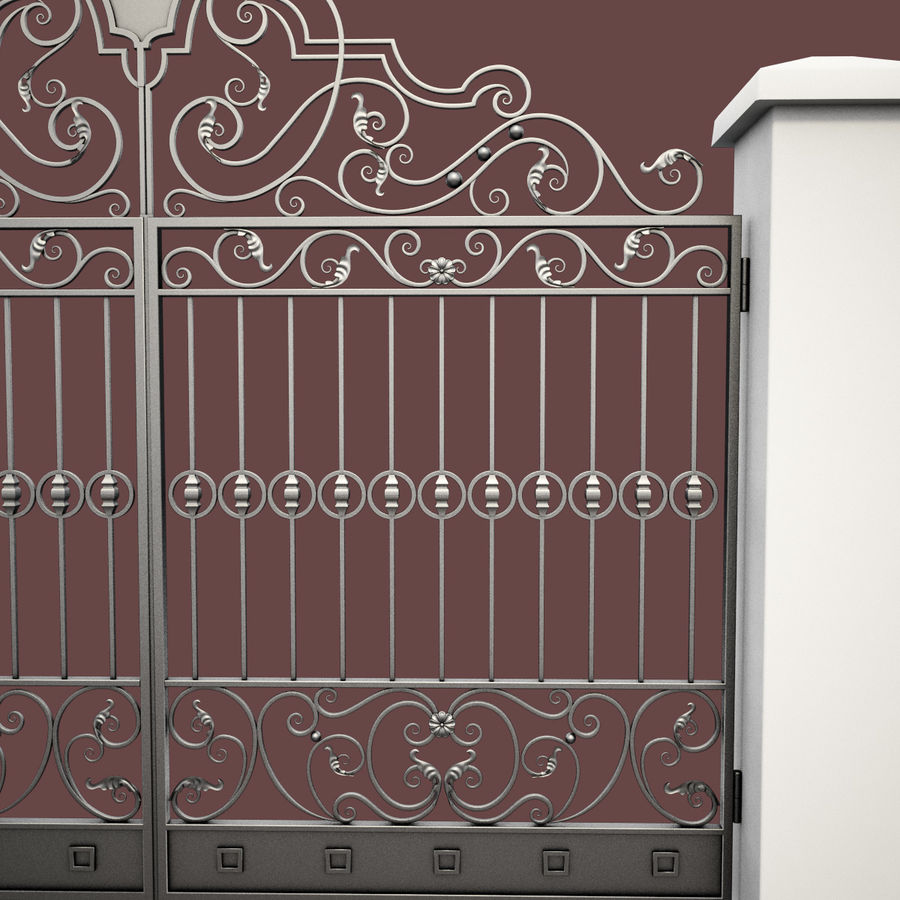 Wrought Iron Gate 24 royalty-free 3d model - Preview no. 13