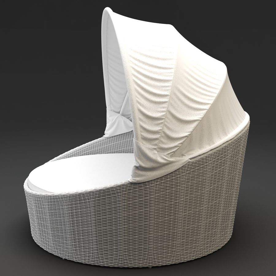 - Siesta Daybed - Synthetic Rattan Outdoor Furniture 3D Model $31