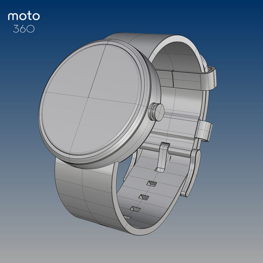 Motorola moto360 leather + NURBS royalty-free 3d model - Preview no. 8